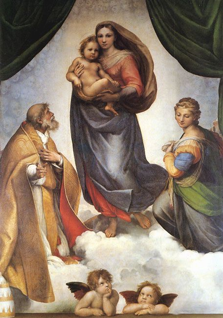 Raffaello Sanzio Raphael Paintings-The Sistine Madonna, 1513