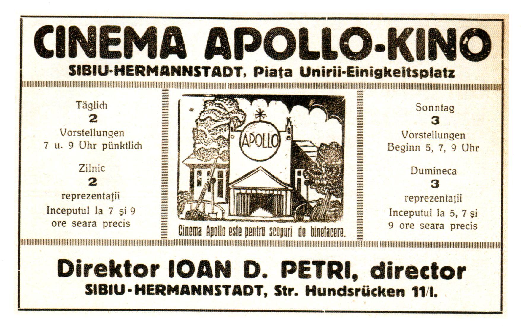 Reclama la cinema Apollo, proprietar Ioan D. Petri, fotografie din colecția personală a lui Konrad Klein