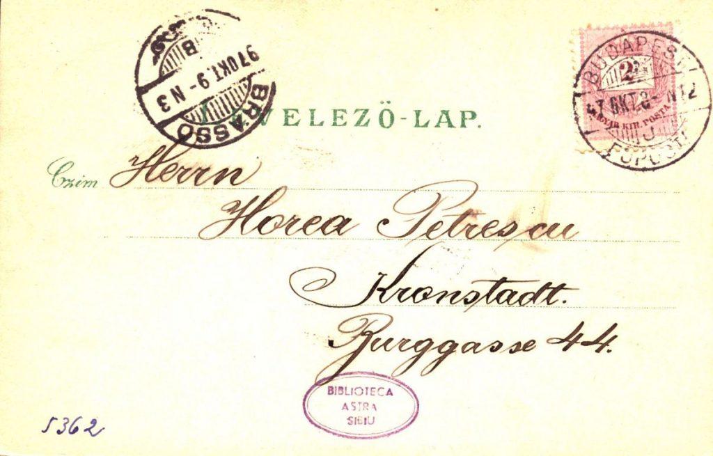 Ilustrată trimisă din Budapesta în octombrie 1897