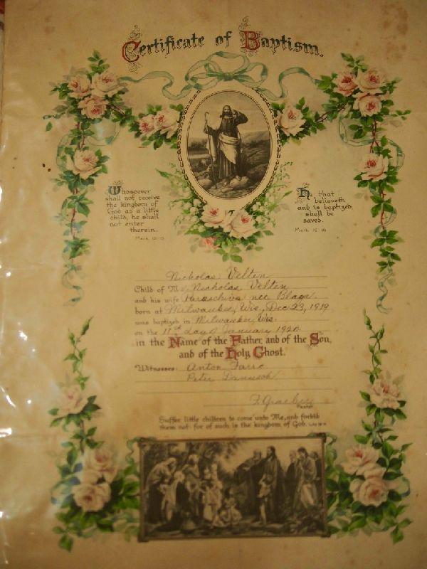Certificat de botez al unui român din America din 1919. Sursa: scena9.