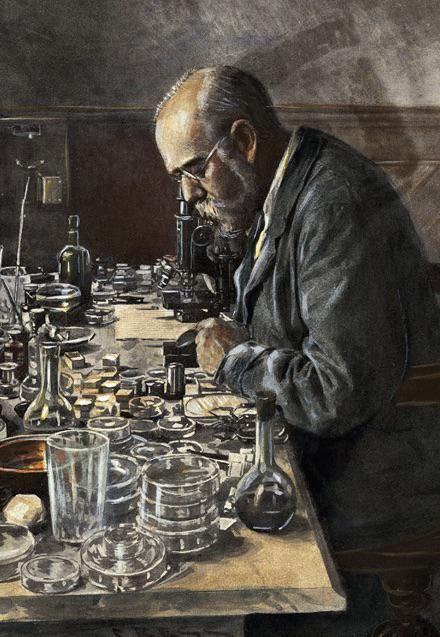 R Koch în atelierul său, autor: Frank Hancox (anii 1890)